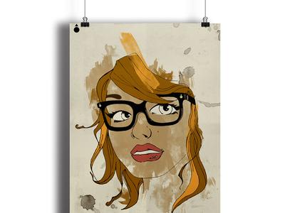 Ilustration Girl skimboard poster girl ilustración ilustration chica paint pintura hipster