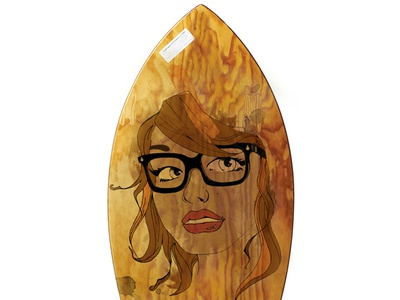 Skimboard Girl Ilustration skimboard poster girl ilustración ilustration chica paint pintura hipster
