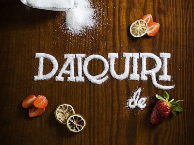 Daiquiri de Fresa strawberry food drinks type lettering food lettering
