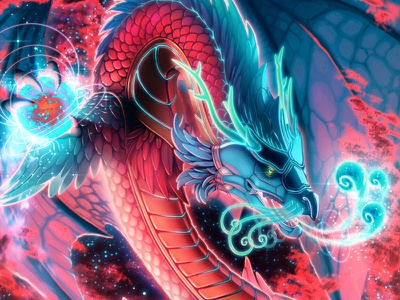 Dragon Racer - Scion of Flame card game board game drawing fire space fantasy photoshop illustration gaming dragon