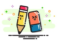 Happy laughter pencil and eraser