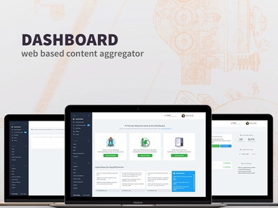Dashboard - web based content aggregator quota feed link download dashboard