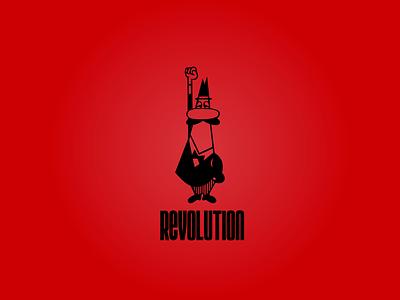 Revolution always starts with coffee revolution coffee logo illustration