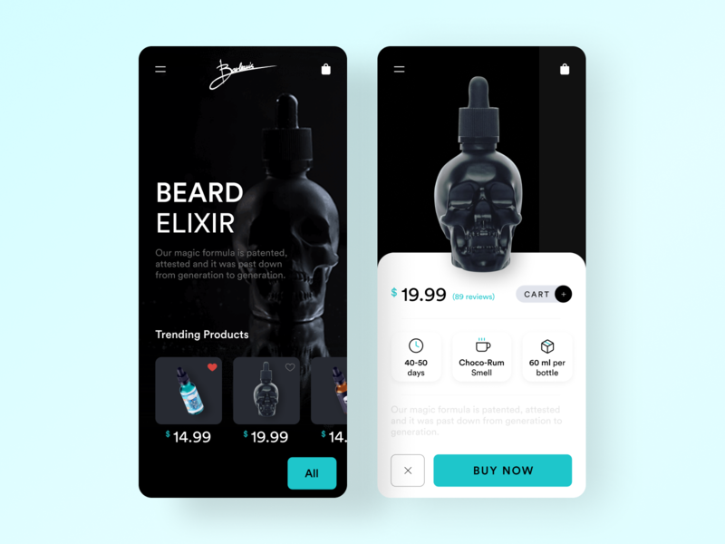 Beard Elixir App UI trending ui trending summer black dark ui dark popular modern uidesign design ux ui mobile app design beard application app