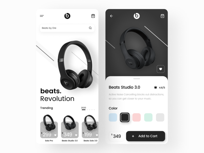 Beats by Dre App UI ui design clean mobile application design popular trend apple beats by dre beats music uxdesign ux ui application ui app design application app