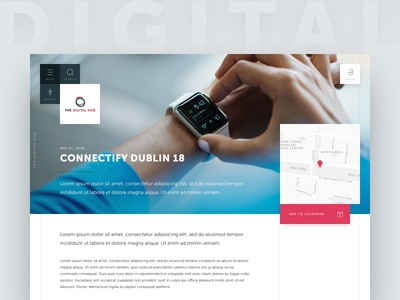 The Digital Hub / Event page post event map card the digital hub tech web design minimalist clean ui ux
