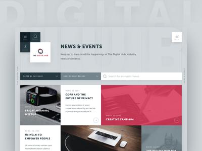 The Digital Hub / Archive page event news card the digital hub tech web design minimalist clean ui ux archive
