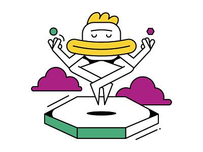 Mindful Meditating pose yoga character design clouds meditating great peaceful rest meditate mindfulness mindful