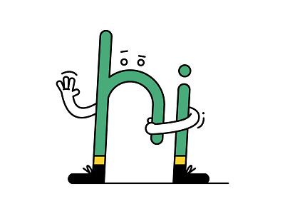 Hi conversation wave hello communicate greet hi typo typographie happy character design character