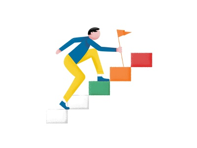 Daily Goals step goal steps flag character male man character male character design targets goals