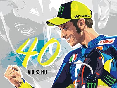 Rossi 40 vr46 46 yamaha valentino rossi race motogp rossi vector design illustration