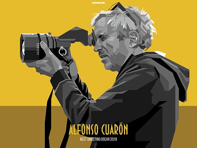 Alfonso Cuaron grayscale vintage cuaron alfonso film movie oscar roma adobe illustrator illustration wpap design vector