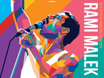 Rami Malek illustration adobe illustrator movie vector academy awards oscar rock band bohemian rhapsody wpap queen rami malek rami