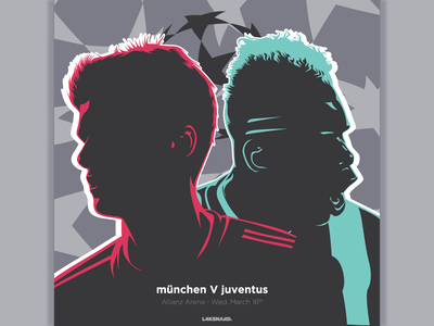 Bayern Munchen vs Juventus serie a bundesliga muller pogba munchen bayern munich juventus champions league soccer football design adobe illustrator vector illustration