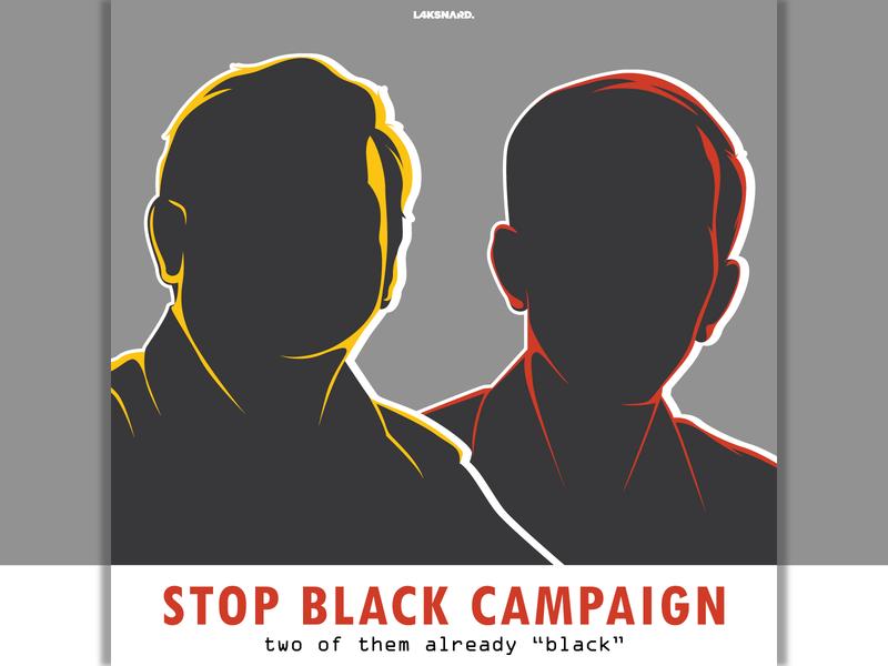 Stop Black Campaign silhoutte pdi gerindra prabowo jokowi indonesia president election day election campaign campaign design vector adobe illustrator illustration