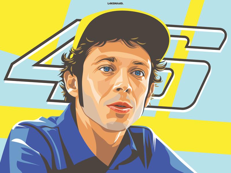 Valentino Rossi 46 legend speed race track racing mugello motogp vr46 rossi design adobe illustrator vector illustration