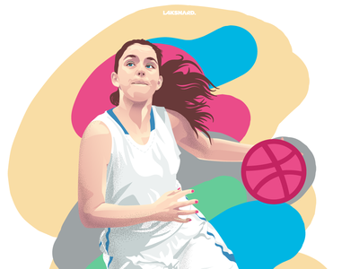 Hello Dribbble girl illustration sport basket basketball design vector adobe illustrator illustration