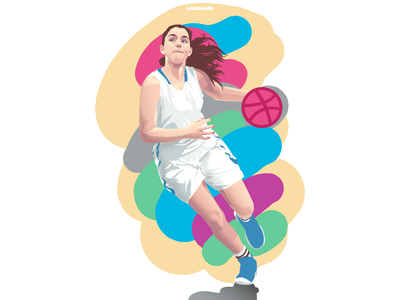 Hello Dribbble | Full vector illustration girl basketball