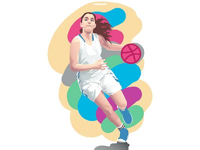 Hello Dribbble   Full vector illustration girl basketball dribbble debut dribbble sport basketball adobe illustrator vector illustration
