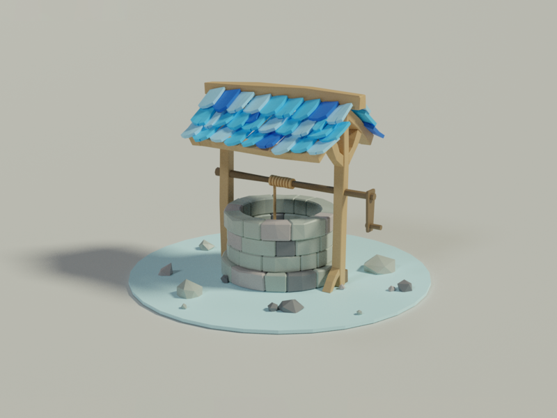 Well blender animation 3d concept illustration