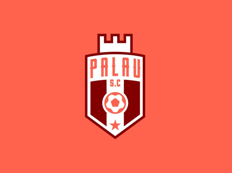 PALAU S.C football crest design identity concept logo typography type