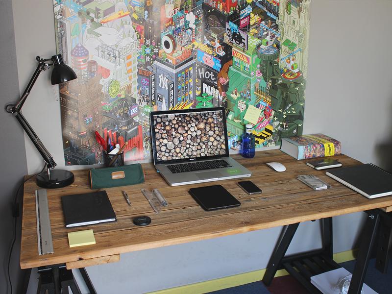 My new workspace desk office studio workspace home wood nature mac workstation