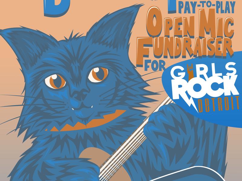Birthday Party Open Mic Fundraiser cat art cat music design poster art illustration digital art
