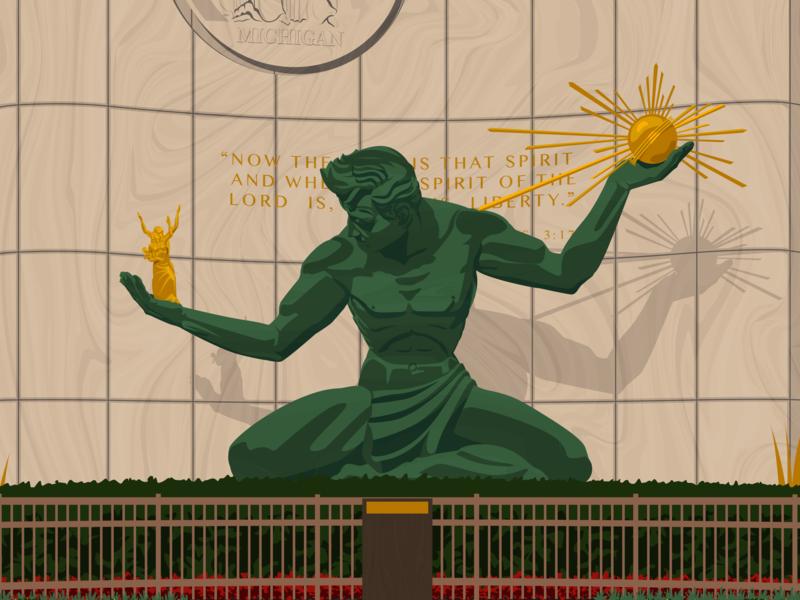 Spirit Of Detroit Statue Detail detroit local landmarks design poster art illustration digital art