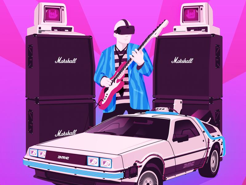 Let's Rock IT Detail automotive tech retro design poster art illustration digital art