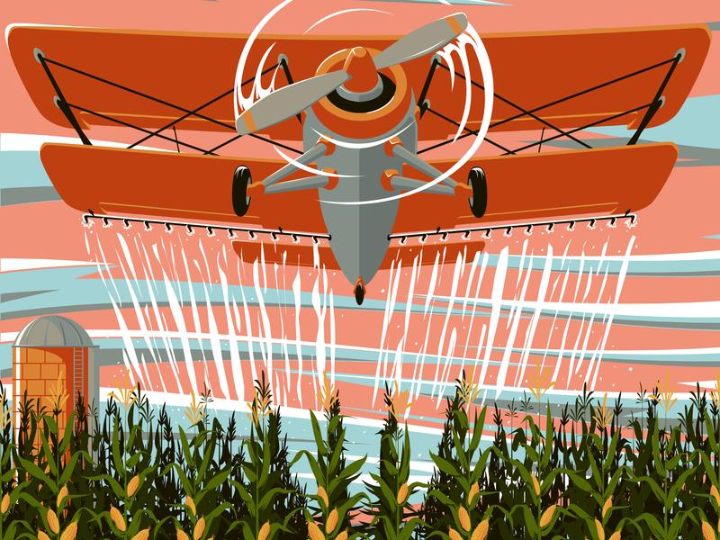 The Bishop Boys at Tecumseh Corn Festival Poster Excerpt farming biplane airplane corn festival poster live music design poster art illustration digital art