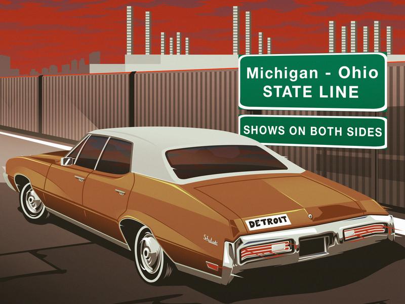 Michigan - Ohio Tour Poster Excerpt vintage automotive live music classic car detroit design poster art illustration digital art