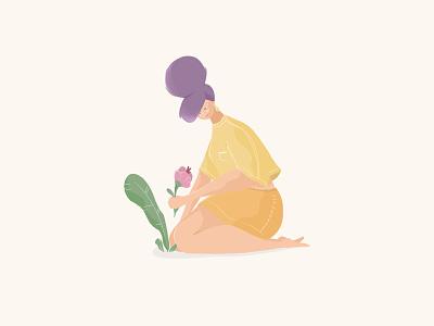 Planting illustration plant girl flower