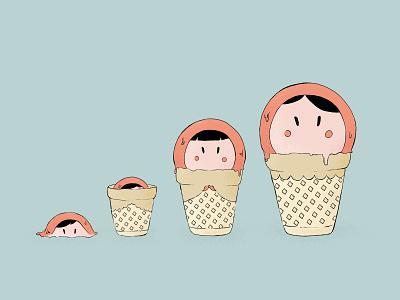 Ice cream matryoshka illustration matryoshka ice cream