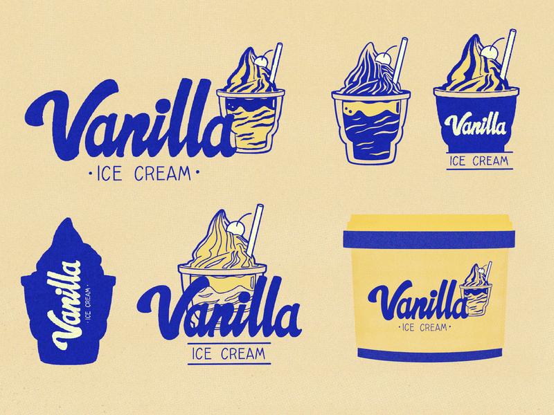 Vanilla Ice Cream dribbbleweeklywarmup frozen yogurt frozen delicious cold type gelato flavour happy fun creamy vanilla cream ice icecream lettering lettering artist design illustration colorful