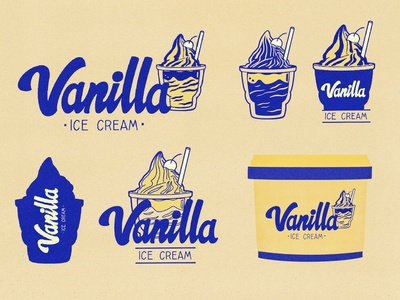 Vanilla Ice Cream inktober inktober2020 warm-up packagedesign prompt weekly weeklywarmup learn dribbbleweeklywarmup type gelato flavour fun creamy vanilla cream lettering design illustration colorful