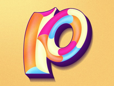 Letter P beveled gradient color typeface type art logo 36dayoftype 36daysoftype16 happy colorful gradient 36days design 36daysoftype illustration lettering artist typography lettering