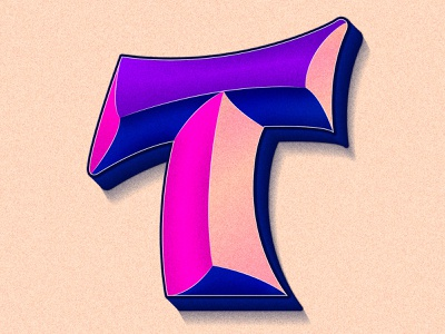 Letter T happy type gradient 36days 36daysoftype colorful lettering artist illustration typography lettering