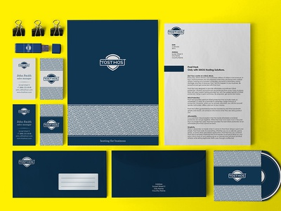 Frost Host logo frost host branding corporate identuty pattern visit card envelope cd