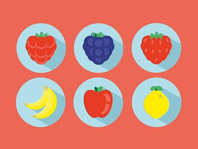 Flat Fruits Icons icons flat fruits strawberry raspberry lemon apple banana grapes long shadow free vector