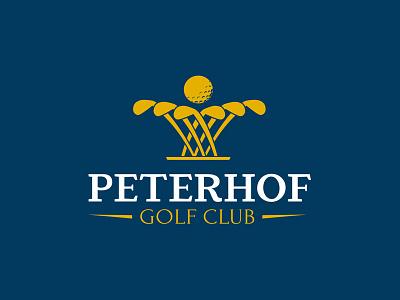 Peterhof golf club identity flat vector concept sports outdor ball fountain logo golf club club golf