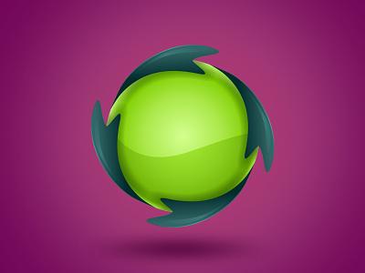 GREEN SPHERE vector logo element drope green light 3d effect gradient element logo dinamic vector sphere