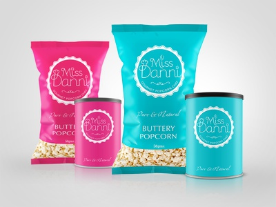 Miss Danni Popcorn Packages gourmet gourmet package popcorn logo package package design popcorn package