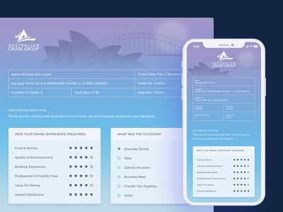 Customer Survey Form for Australian Cruise Group harbour harbour bridge sydney acg australian cruise group australia customer feedback feedback form feedback form survey form survey