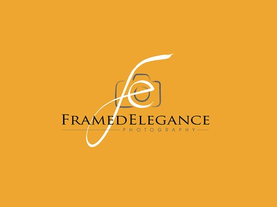 Framed Elegance Photography 99designs camera wedding photographer logo branding photography logo
