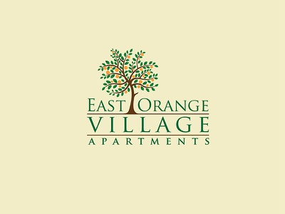 East Orange Village Apartments identity designer creative orange logo tree logo builders brand identity logo branding village apartment apartment logo