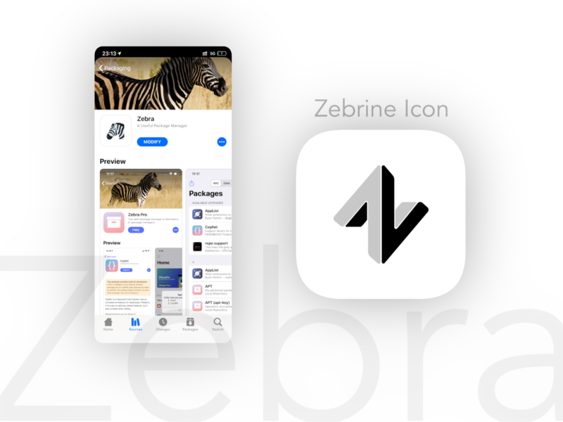 Zebrine motion5 apple z icon design manager sketch white black zebra jailbreak