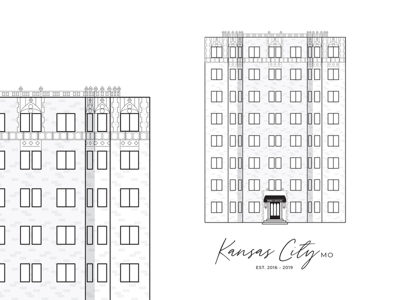 Nostalgic Apartment Illustration kcmo kc plaza kansas city plaza kansas city apartment design portrait house apartment vector black and white design linework illustration