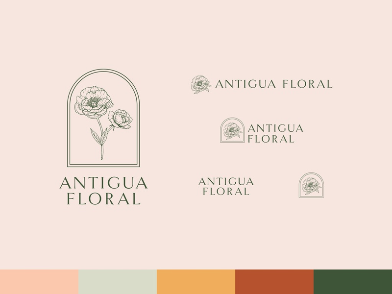 Antigua Floral - Logo Variations wedding vector redesign minimal logo linework illustration identity hand drawn floral flat design branding