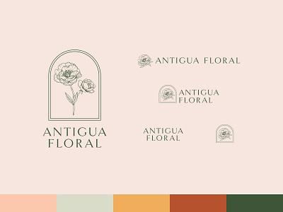 Antigua Floral - Logo Variations wedding vector redesign minimal logo linework illustration identity hand drawn floral flat design branding