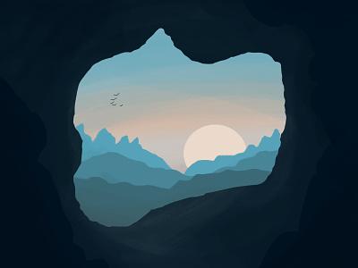 Cave Illustration Commission procreate brushes brushes cave mountains sunset procreate design illustration